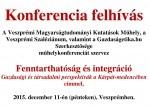 Meghívó - Fenntarthatóság és integráció Gazdasági és társadalmi perspektívák a Kárpát-medencében